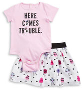 Kate Spade Baby Girls Little Girls Here Comes Trouble Bodysuit and Patterened Skirt Set