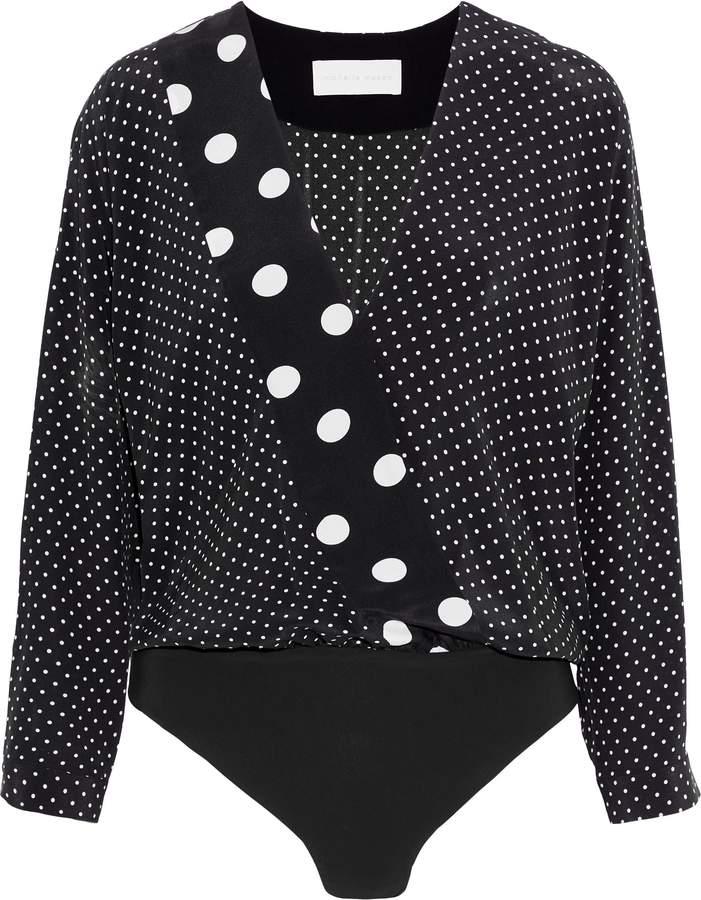 Mason by Michelle Mason Wrap-effect Printed Silk Crepe De Chine Bodysuit