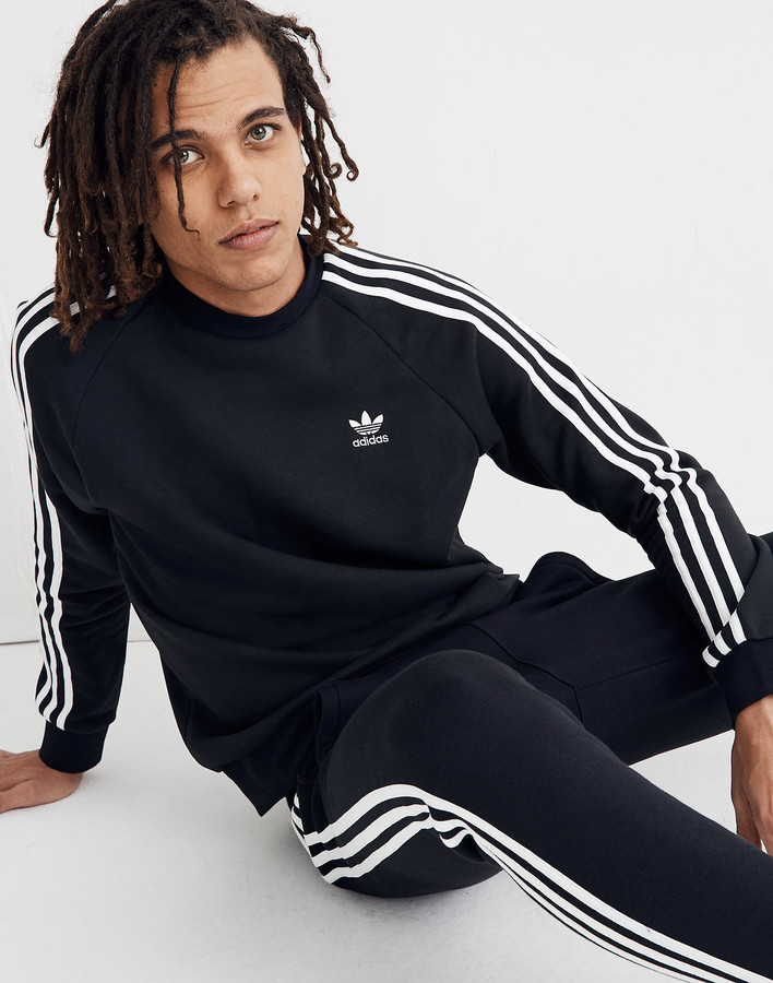 Madewell Adidas Three-Stripe Fleece Crewneck Tee