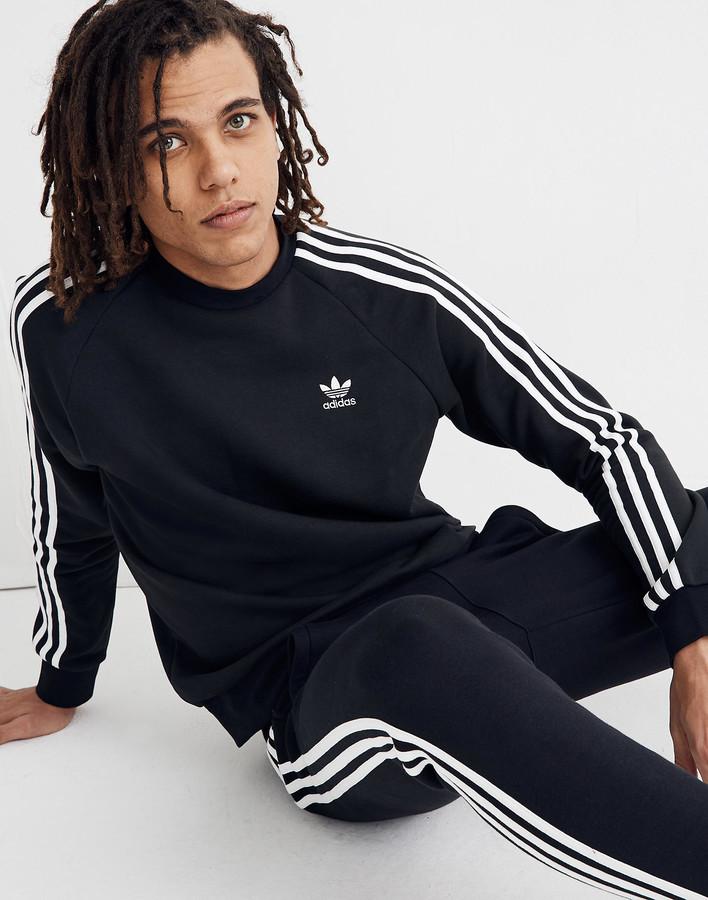 Adidas& Three-Stripe Fleece Crewneck Tee