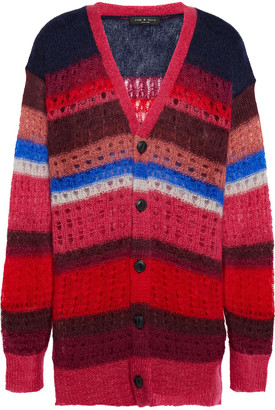 Rag & Bone Striped Open-knit Mohair And Silk-blend Cardigan