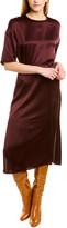 Vince Seamed Silk Midi Dress