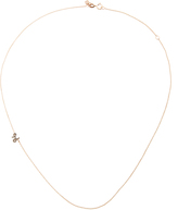 Sydney Evan Rose Gold Initial Side Oriented Necklace with Black Diamonds