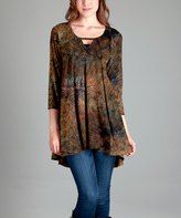 Rust Abstract Cutout Tunic - Plus Too