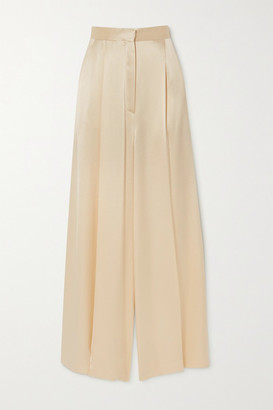 Loewe Pleated Hammered-satin Wide-leg Pants - Cream