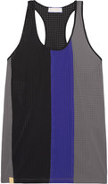 Monreal London Color-block Perforated Stretch-jersey Tank - Anthracite