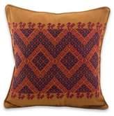Maya Backstrap Loom Woven Earth Tone Cotton Cushion Cover, 'Traditional Symmetry'