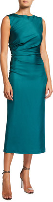 Sally LaPointe Draped Silk Column Midi Dress