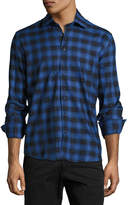 Neiman Marcus Check and Dotted Button-Front Shirt, Royal Blue