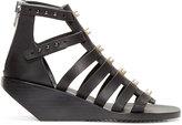 Rick Owens Black Embellished Leather Cage Sandals
