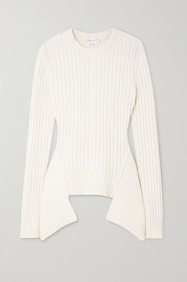 Alexander McQueen Asymmetric Ribbed And Cable-knit Wool And Cashmere-blend Sweater - White