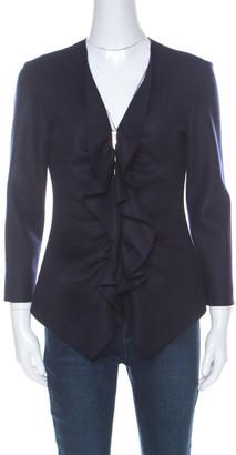 Carolina Herrera CH Navy Blue Fleece Wool Ruffle Detail Zip Front Jacket M