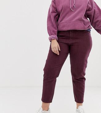 Asos DESIGN Curve Ritson rigid mom jeans with seam detail in oxblood stripe-Multi