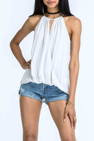 Lush White Sleeveless Surplice Top