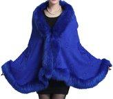 Helan Apparel Helan Women's Faux Fox Fur Shawl Cloak Cape Coat With Floral