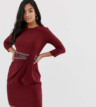 Little Mistress Petite Little Mistress long sleeve waist detail shift dress