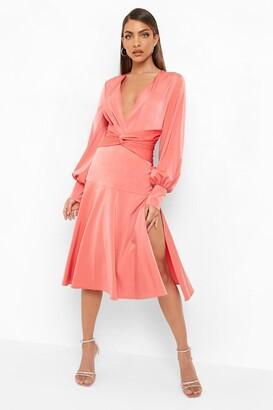 boohoo Satin Twist Front Midi Bridesmaid Dress