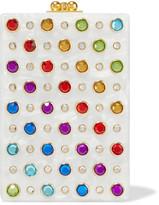 Edie Parker Carol Swarovski Crystal-embellished Acrylic Box Clutch - White