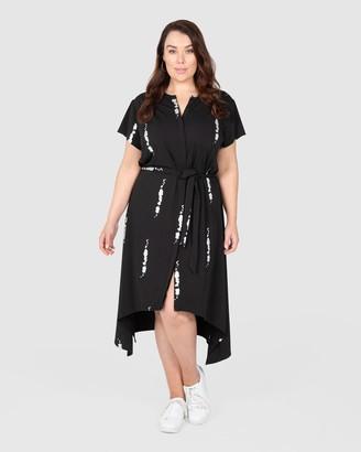 Love Your Wardrobe Splash Knit Shirt Dress