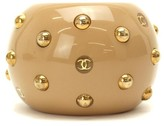 Chanel Gold Tone Metal Beige Studded Bangle