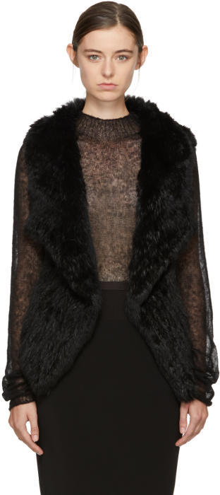 Yves Salomon Black Knit Fur Lapel Vest