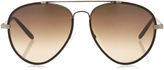 Bottega Veneta Leather and metal aviator-style sunglasses