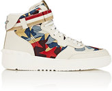Valentino Men's Camouflage Denim & Leather High-Top Sneakers-WHITE