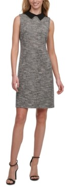 Tommy Hilfiger Petite Collared Tweed Sheath Dress