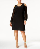 MSK Plus Size Cold-Shoulder Shift Dress