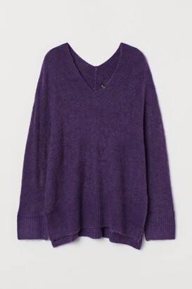 H&M V-neck Wool-blend Sweater - Purple