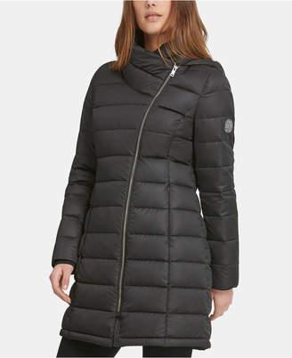 DKNY Asymmetrical Hooded Packable Down Puffer Coat