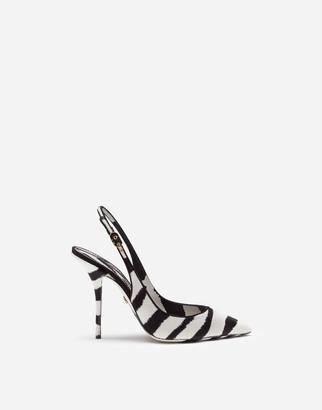 Dolce & Gabbana Zebra Print Slingbacks In Pony-Style Calfskin