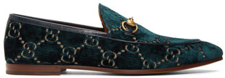 Gucci Navy Velvet GG Jordaan Loafers