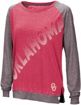 Colosseum Women's Crimson Oklahoma Sooners Binding Diagonal Long Sleeve Raglan T-Shirt