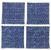 Indigo Blue Coasters Artisan Crafted Cotton Batik (Set of 4), 'Hmong Indigo Stars'