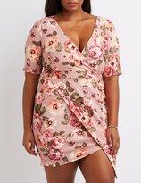 Charlotte Russe Plus Size Floral Surplice Bodycon Dress