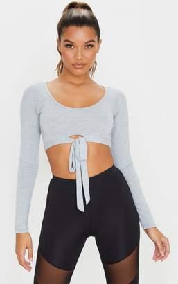 ASA Trad Grey Long Sleeve Wrap Waist Gym Top