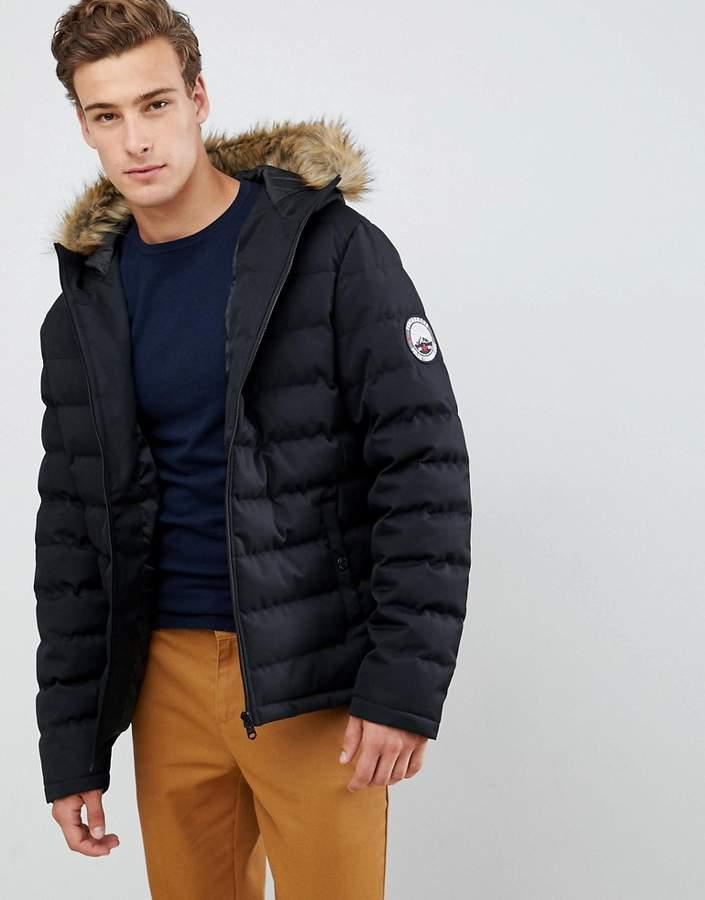 40653b56a Threadbare Puffer Jacket with faux fur trim hood