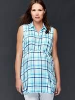 Gap Maternity plaid tie-belt shirt