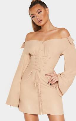 PrettyLittleThing Biscuit Bardot Flare Sleeve Lace Up Shirt Dress