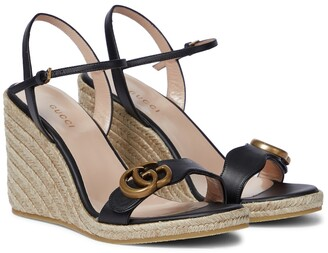 Gucci Double G leather wedge espadrille sandals