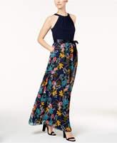 Sl Fashions Halter-Neck Printed Maxi Dress