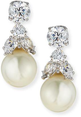 FANTASIA CZ Stud & Simulated Pearl Dangle Earrings