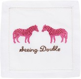 "The Well Appointed House ""Seeing Double"" Zebra Cocktail Napkins in Pink by August Morgan - Set of Four - IN STOCK IN GREENWICH FOR QUICK SHIPPING!"