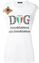 Dolce & Gabbana emblem patch logo tank top - women - Silk/Cotton/Brass/glass - 36