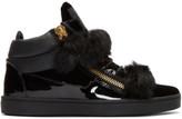 Giuseppe Zanotti Black Patent and Velvet Brek Mid-top Sneakers
