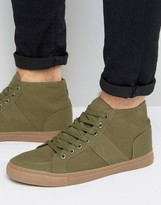Asos Lace Up Skater Sneakers In Khaki Canvas With Gum Sole