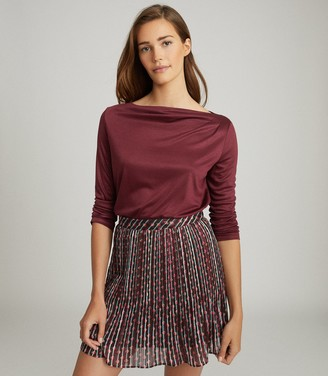 Reiss FAYE STRAIGHT NECK TOP Berry