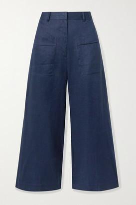 ZEUS + DIONE Niobe Cropped Linen Wide-leg Pants - Navy