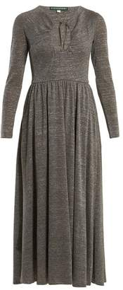 ALEXACHUNG Cut-out Front Gathered-waist Dress - Womens - Silver